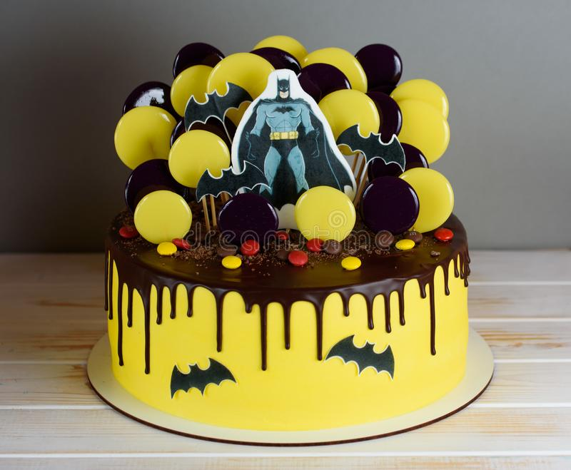 A handsome cake with the hero Batman stock image
