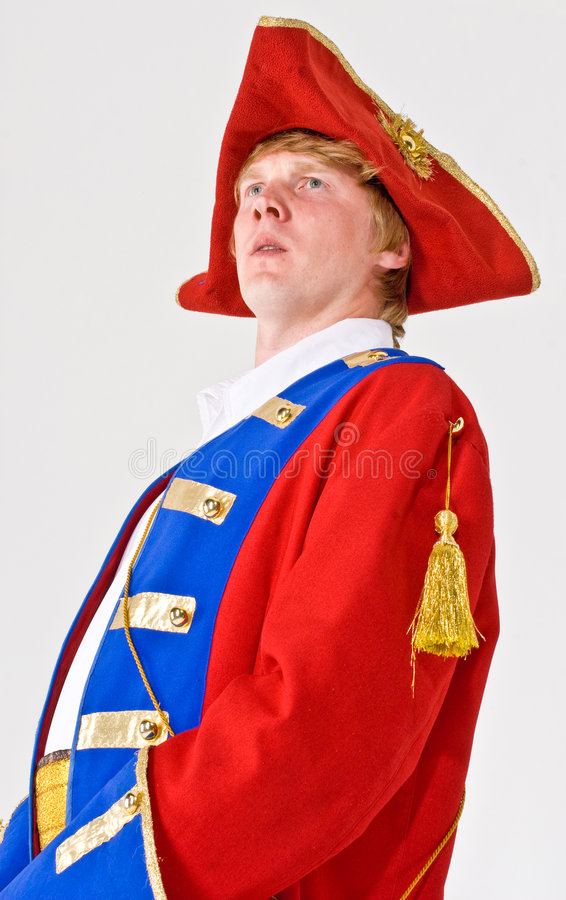 Handsome Captain. A handsome theatrical actor dressed up as a captain of a ship stock image