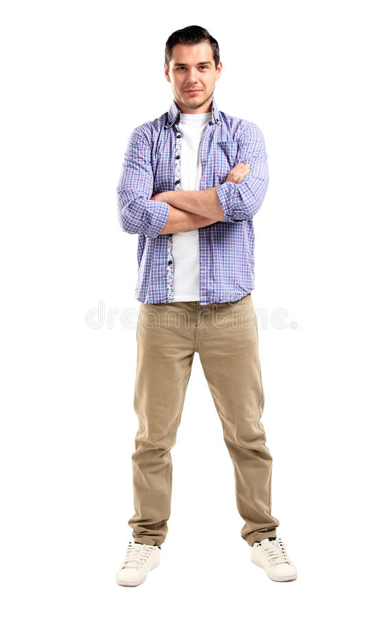 Handsome casual man smiling - isolated over a white. Background royalty free stock photo