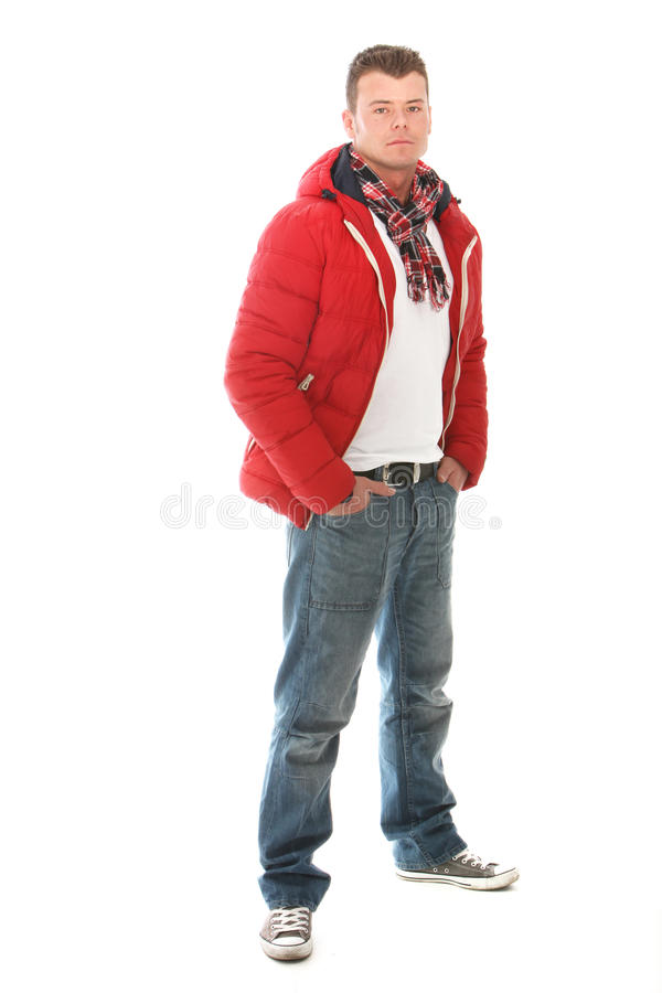 Handsome casual man in winter fashion royalty free stock photos