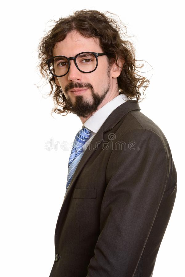 Portrait of handsome Caucasian businessman wearing eyeglasses stock images