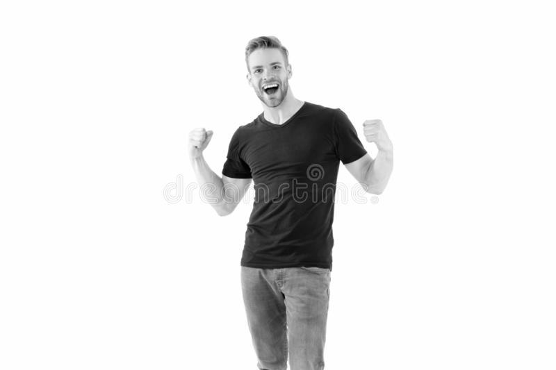 Handsome cheerful successful man. Leadership and competition. Strong muscular body feeling powerful rear view royalty free stock photos