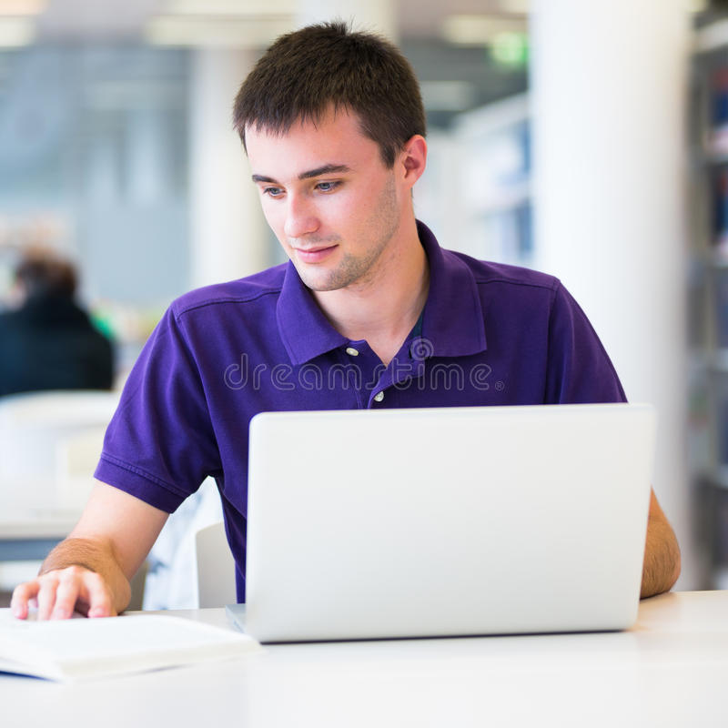 Download Handsome College Student Using His Laptop Stock Image - Image: 26325751