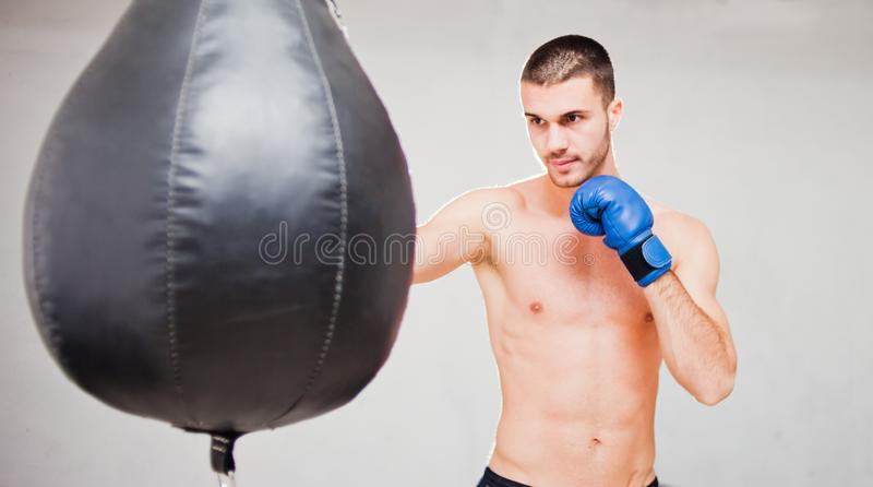 Handsome concentrated male boxer. Trains hand punches with a punching bag stock images