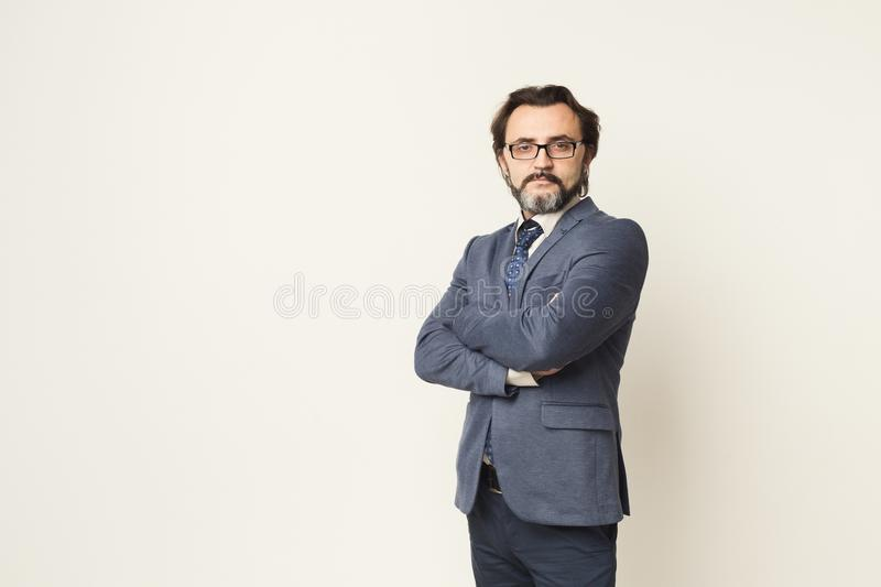 Handsome confident bearded businessman portrait royalty free stock photo