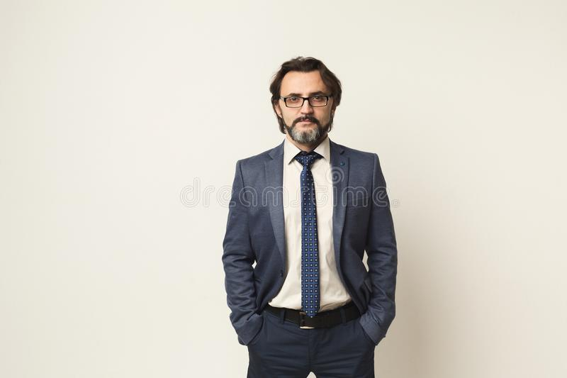 Handsome confident bearded businessman portrait stock images