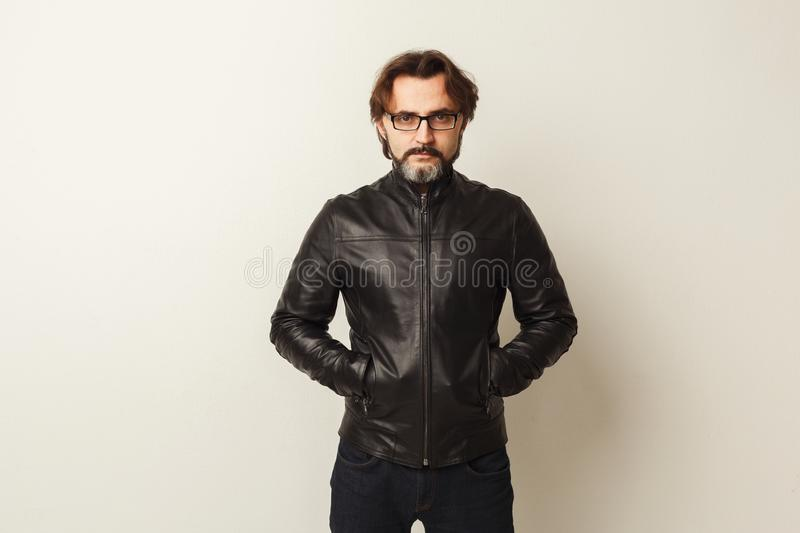 Handsome confident bearded man portrait royalty free stock photos