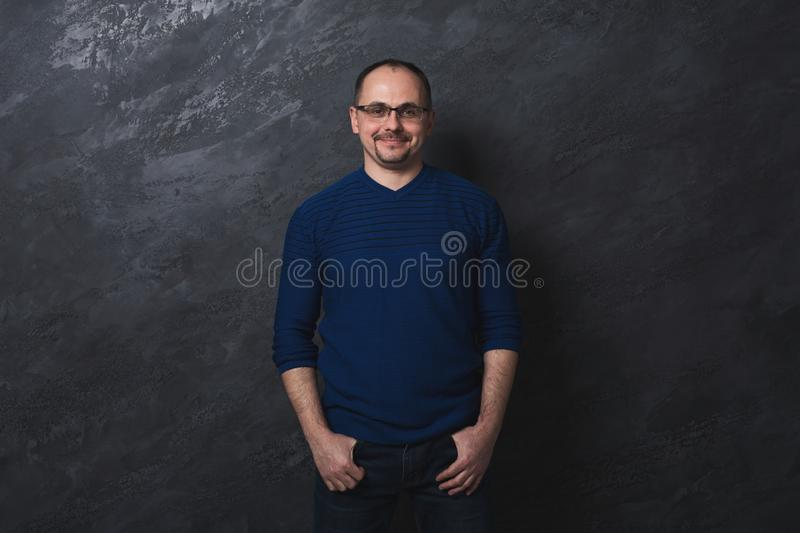 Handsome confident man in glasses portrait stock photos
