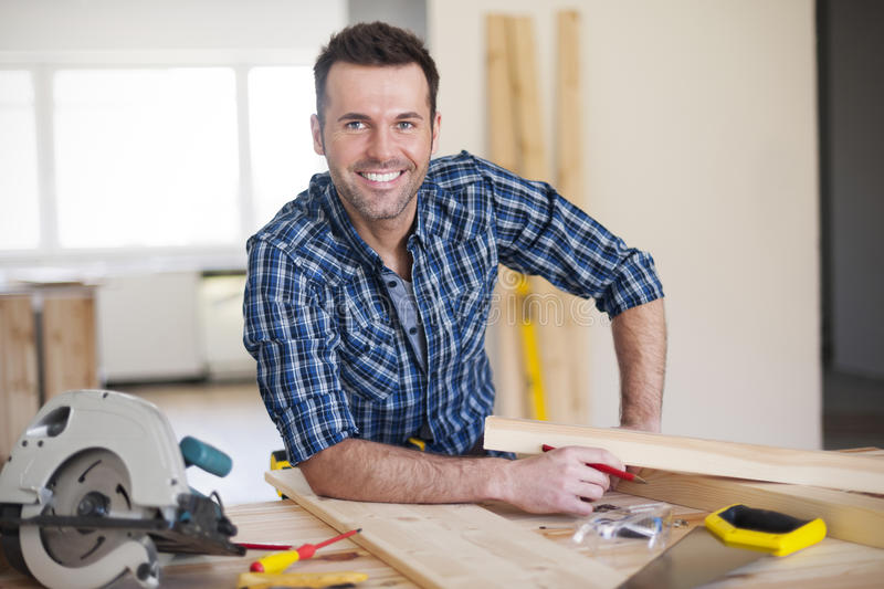 Handsome construction worker stock image