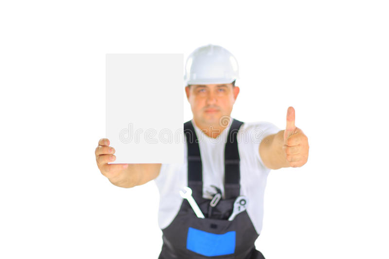 Download Handsome Contractor Holding A Banner. Stock Photography - Image: 21848492