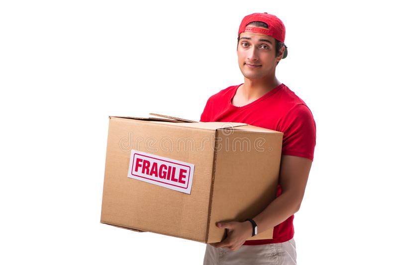 The handsome contractor holding fragile box isolated on white. Handsome contractor holding fragile box isolated on white royalty free stock photos
