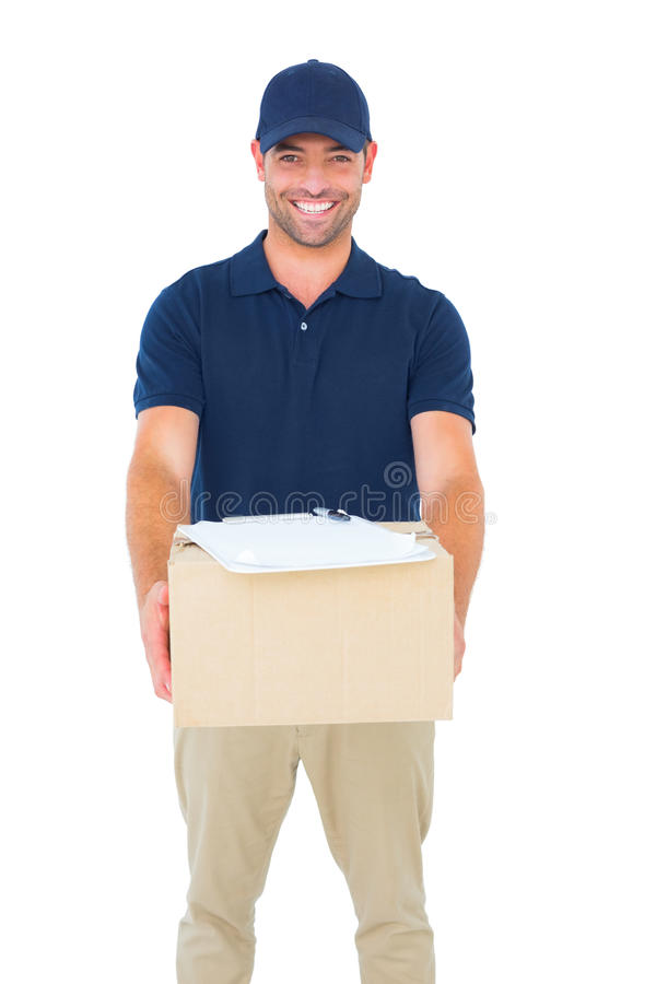 Handsome courier man with parcel. Portrait of handsome courier man with parcel on white background royalty free stock photos