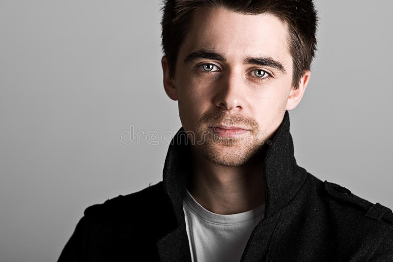 Handsome Dark Haired Male with Goatee Beard royalty free stock photo