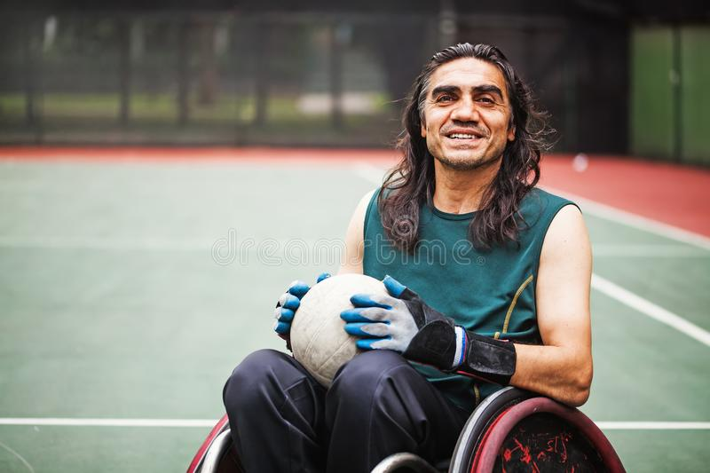 Disabled rugby player stock image