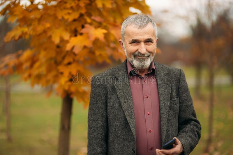 A handsome elderly man with beard in glasses is using a phone. Walk in the park in autumn stock images
