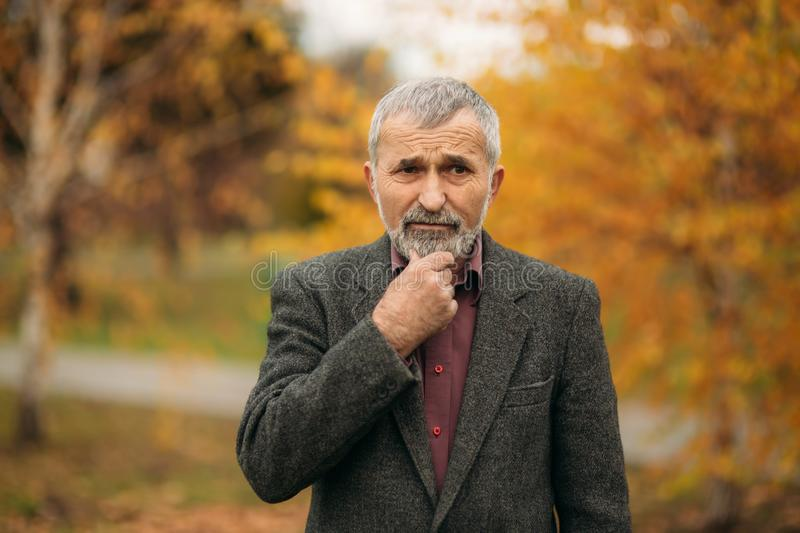 A handsome elderly man. Walk in the park in autumn stock images