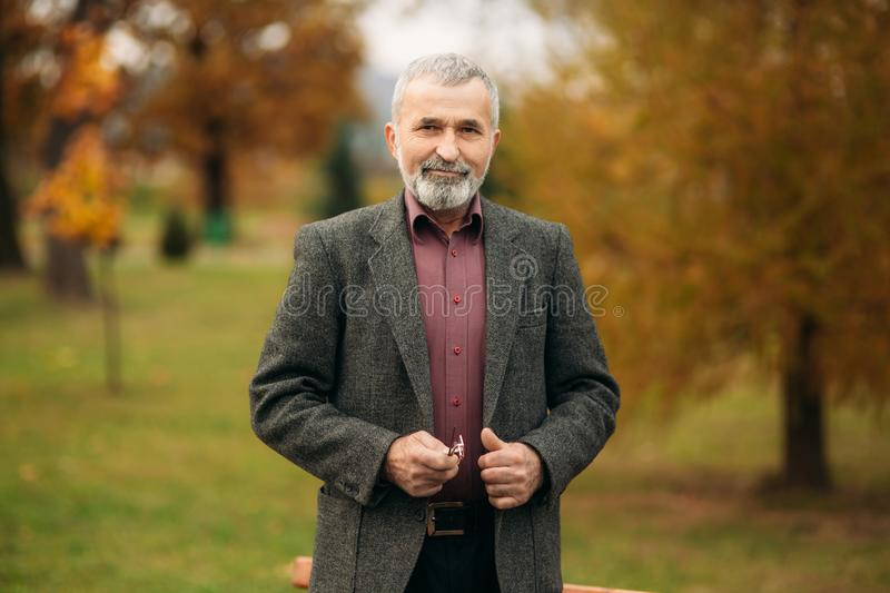 A handsome elderly man wearing glasses is using a phone. Walk in the park in autumn stock photography