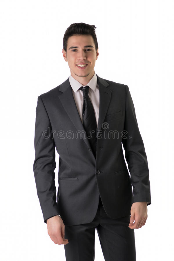 Handsome elegant young man with business suit royalty free stock photos