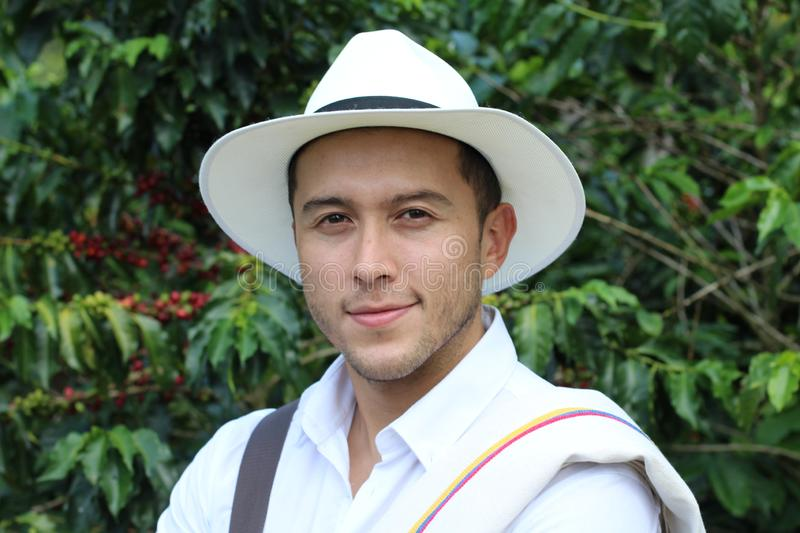 Handsome farmer in coffee plantation stock images