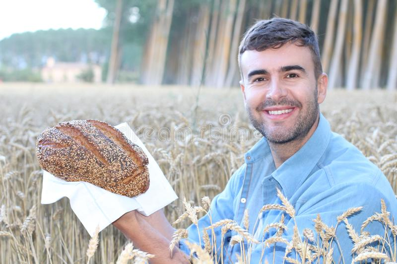 Handsome farmer holding bread in wheat field stock photos
