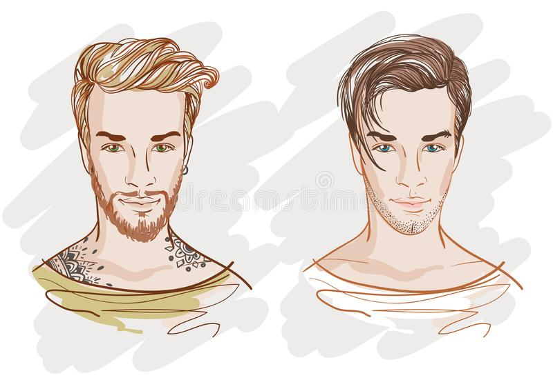 Handsome fashion men. Hipsters. Vector doodle illustration isolated on white. royalty free illustration