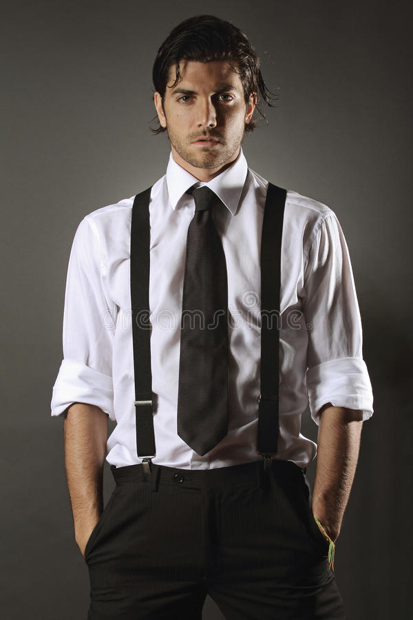 Free Handsome Fashion Model With Black Tie Stock Images - 34341084
