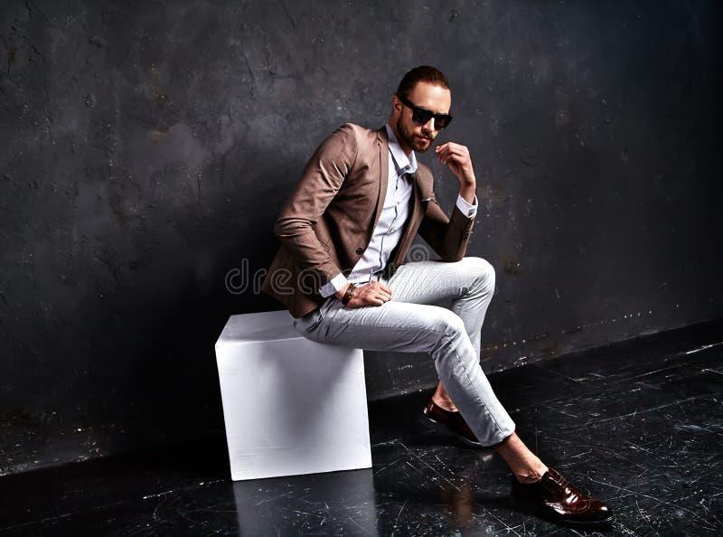 Handsome fashion stylish businessman model dressed in elegant suit. Portrait of handsome fashion stylish hipster businessman model dressed in elegant brown suit stock image