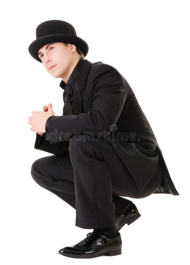 Retro stylish man in black suit royalty free stock photography