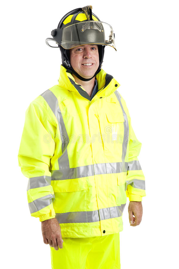 Handsome Firefighter on White stock images