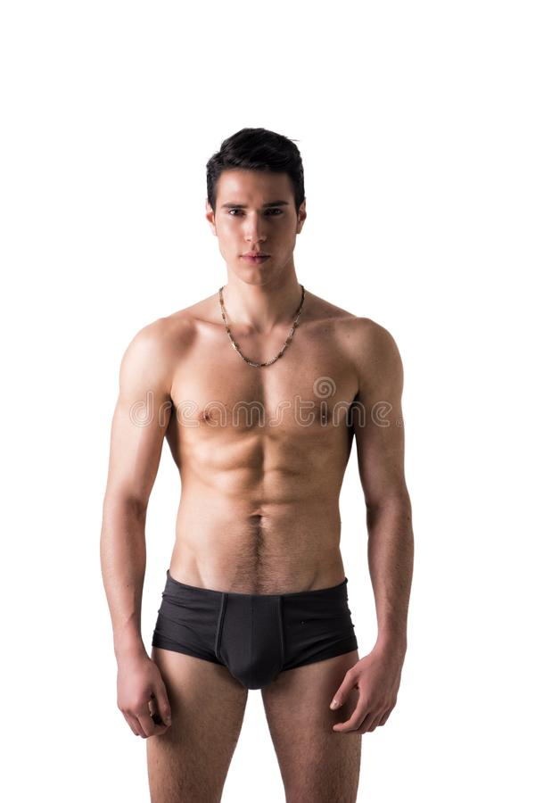 Handsome, fit young man in underwear isolated on stock image