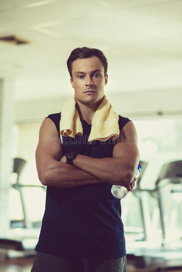 Handsome fitness trainer royalty free stock photos