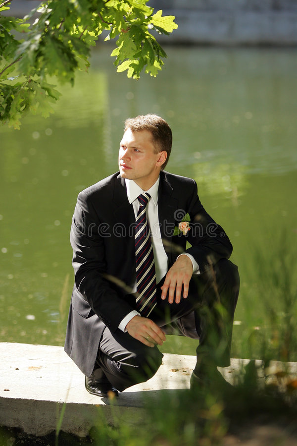 Handsome Groom by River stock images