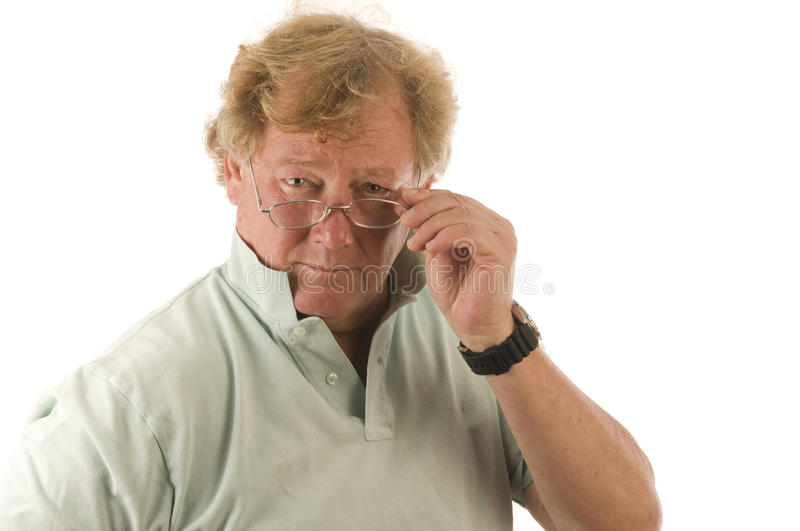 Handsome grumpy middle age man stock photography