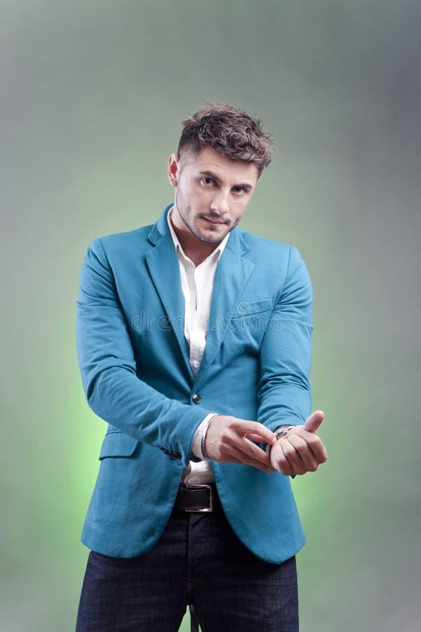 Handsome guy. Elegant young handsome guy in studio portrait stock photo