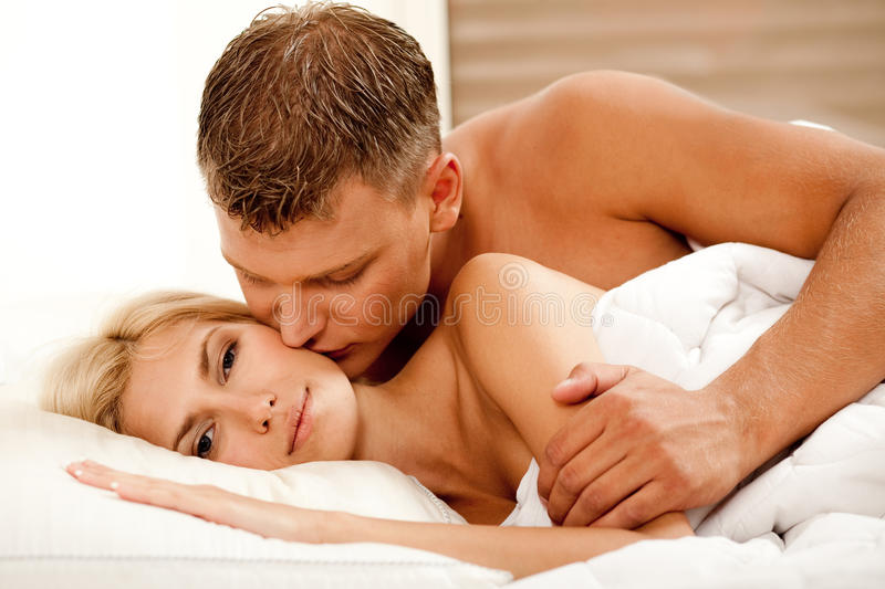 Handsome guy kissing royalty free stock photos