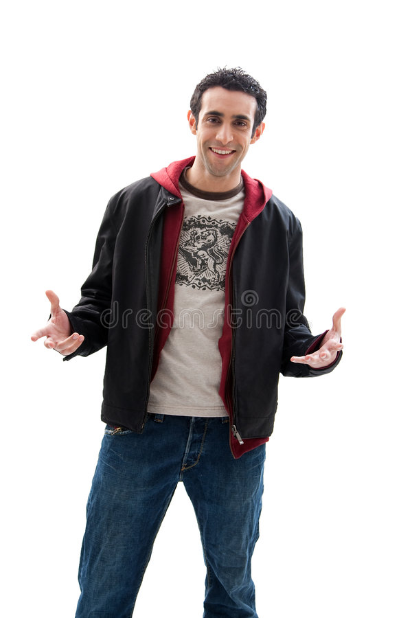 Handsome guy with open hands royalty free stock images