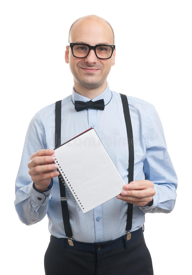 Handsome guy showing blank notepad stock photos