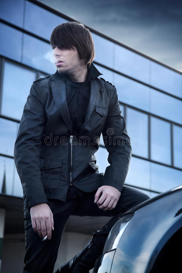 Download Handsome guy smoking stock photo. Image of attractive - 12307356