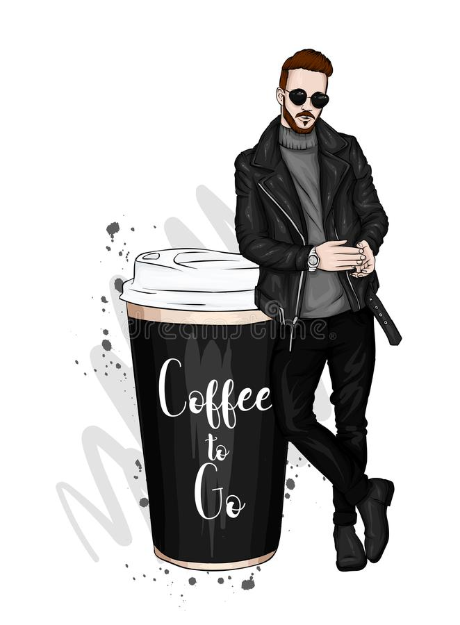 Handsome guy in stylish clothes. Hipster. Vector illustration.  vector illustration