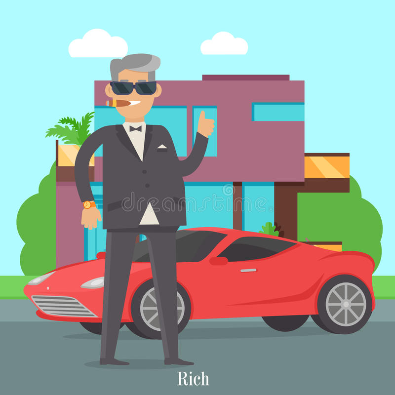 Superieur Download Handsome Guy In Stylish Clothes Near Cool Car Stock Vector    Illustration Of Gentleman,