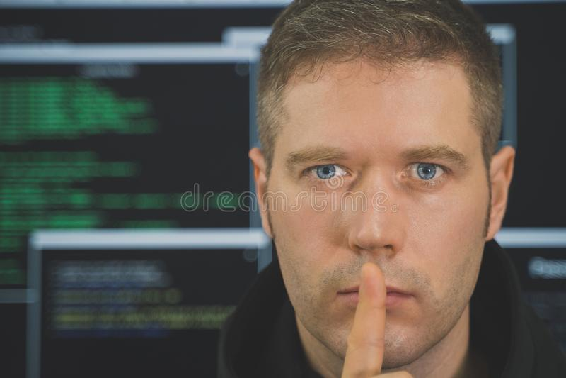 Handsome hacker portrait. royalty free stock photo