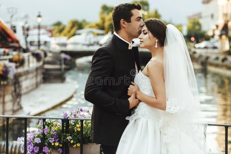 Handsome happy bride and beautiful sensual groom at romantic bridge in france closeup stock images