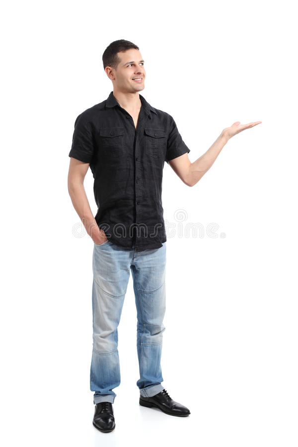 Handsome happy confident man posing standing royalty free stock images