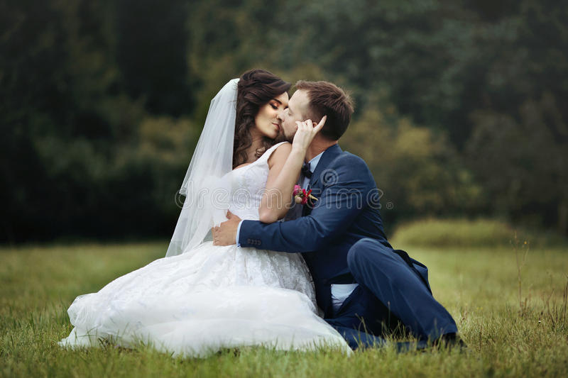 Handsome happy groom hugging and kissing beautiful bride while s stock images