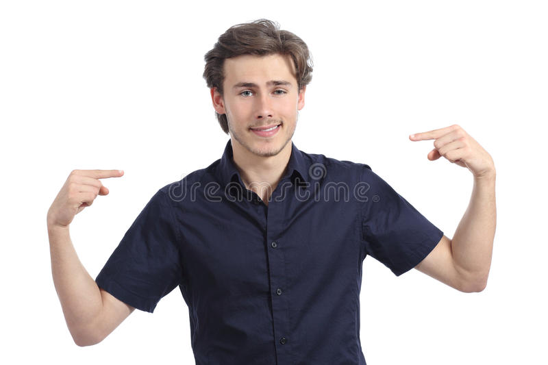 Handsome happy man pointing himself stock photos