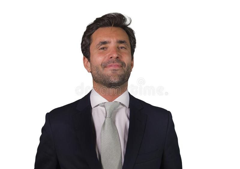 Handsome happy man in suit posing for company corporate business portrait relaxed and confident smiling happy isolated on white as stock images