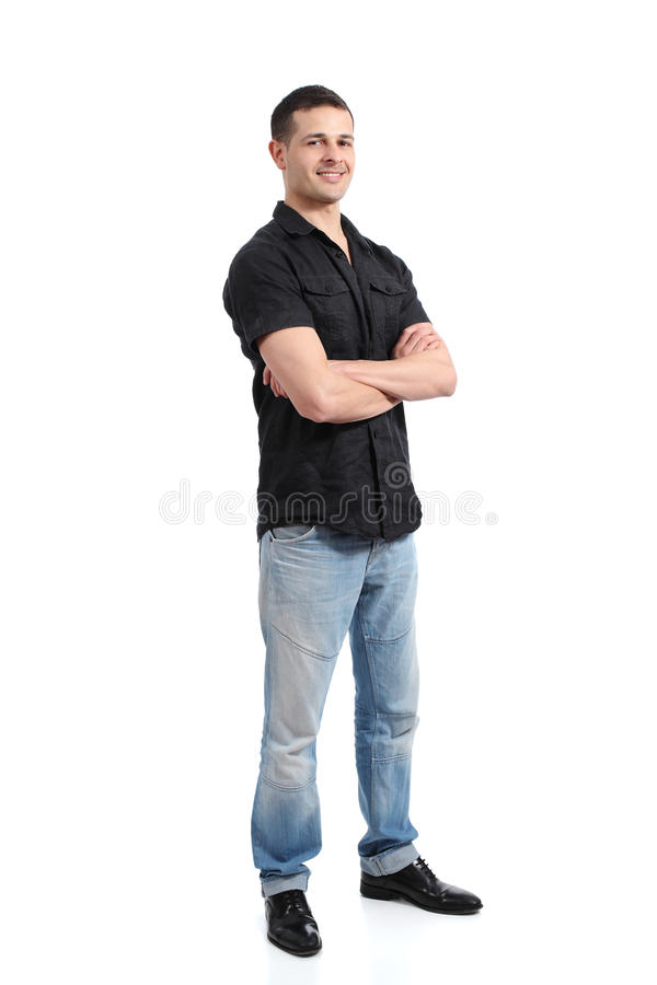 Handsome happy standing man promoting and presenting stock images