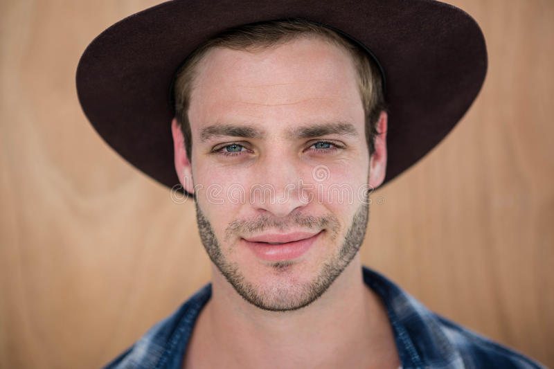 Handsome hipster wearing hat royalty free stock images