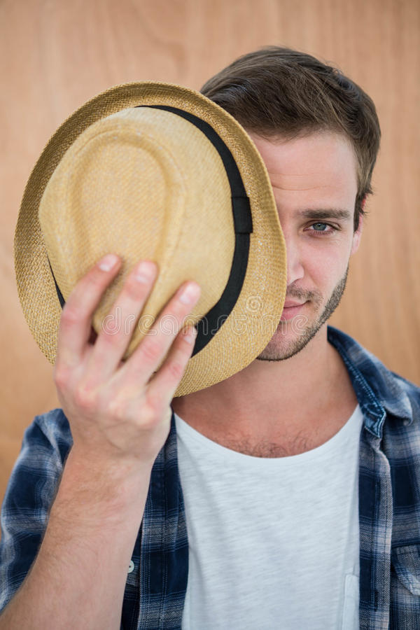 Handsome hipster wearing hat royalty free stock image