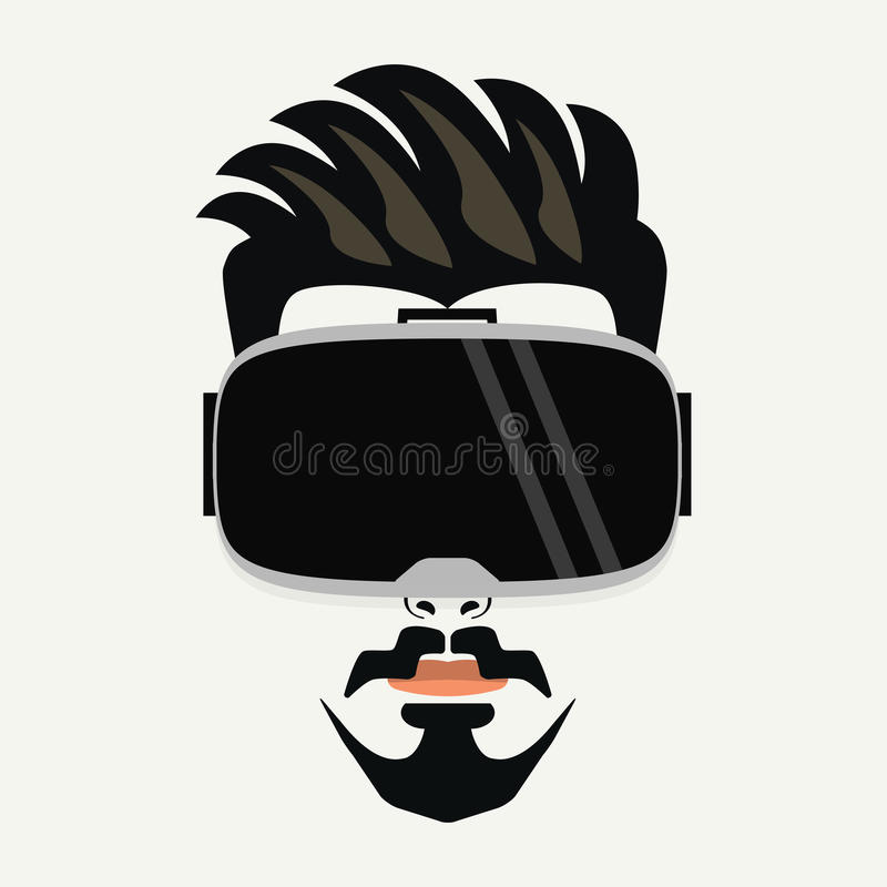 Handsome hipster young male wearing virtual reality glasses royalty free illustration